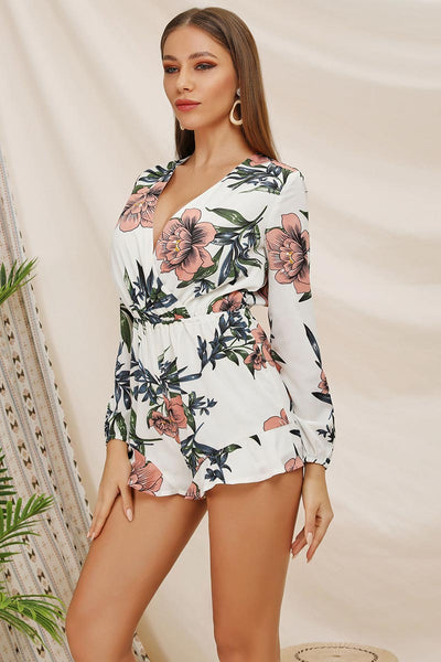 V Neck Flower Print Empire Romper With Long Sleeves