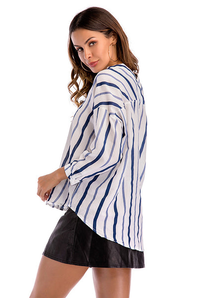 V Neck Striped Button Front Asymmetrical Hem Blouse