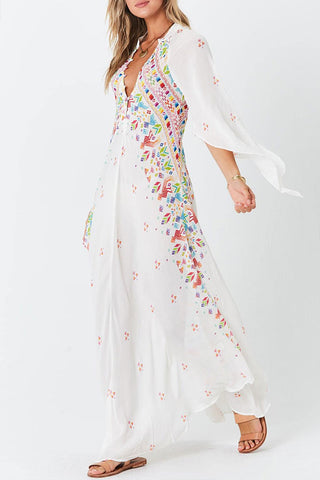 Boho White V-neck Print Dress