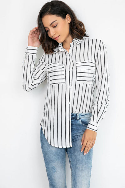 Vertical Striped Single Breasted Fitted Blouse
