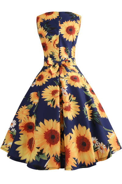Vintage Bowknot Back Floral Dress
