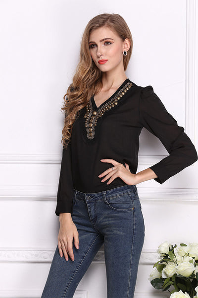Vintage V Neck Beaded Blouse