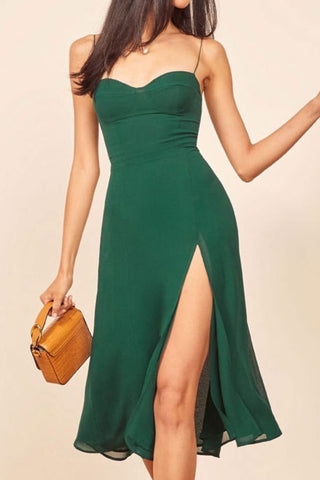 Vintage Slit Spaghetti Straps Midi Dress