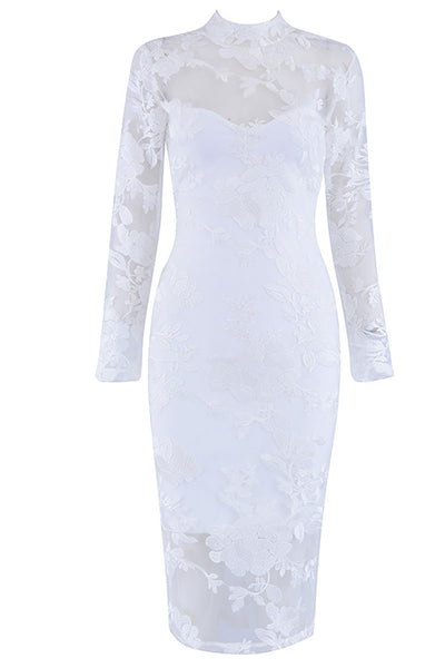 White Applique Prom Dress See Through With Long Sleeves