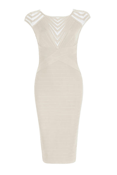 Ivory Cut Out Short Bandage Party Dress