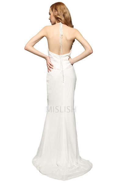 White Halter Sheath Backless Prom Dress