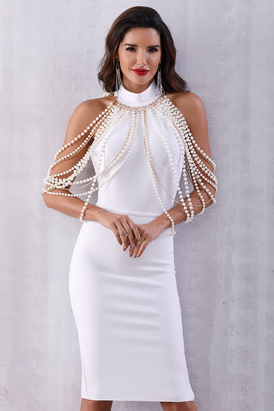 White High Neck Beaded Bandage Prom Dress