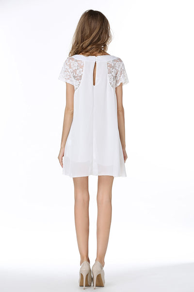 White Lace Panel Cutout Back Mini Dress