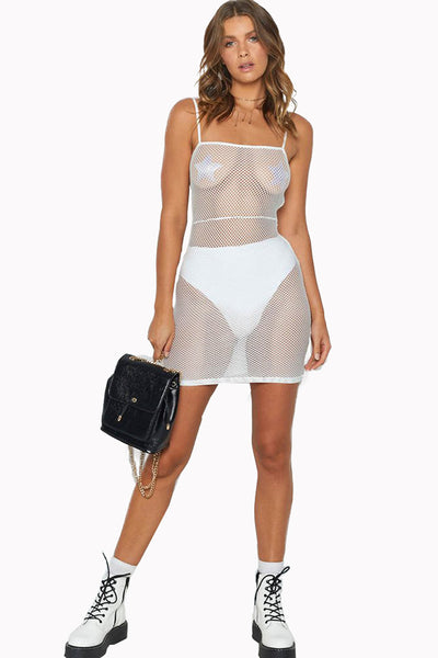 White Mesh Cutout See Through Mini Dress