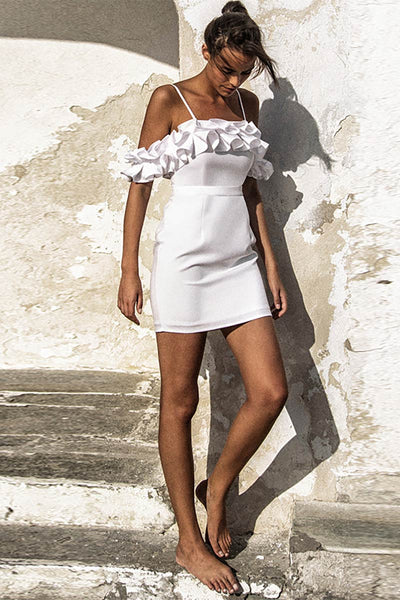 White Off-the-shoulder Ruffled Spaghetti Strap Bandage Dress