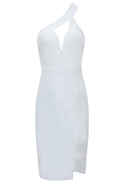 White One Shoulder Cut Out Cocktail Dress