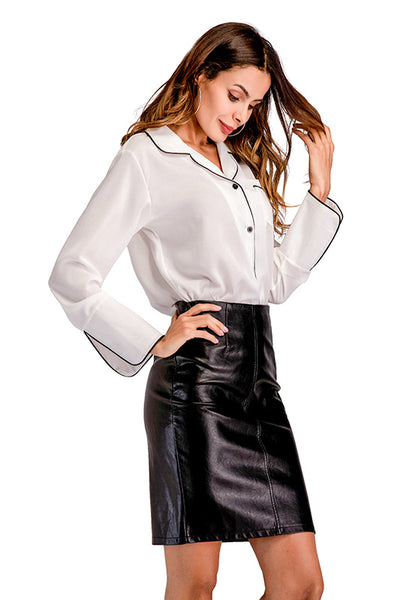 White Single Breasted Pocket Lapel Blouse