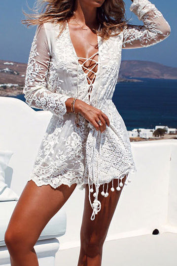 White Lace Crisscross See-Thru Short Dress