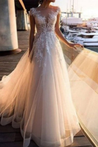 White V-neck See Through Tulle Dress
