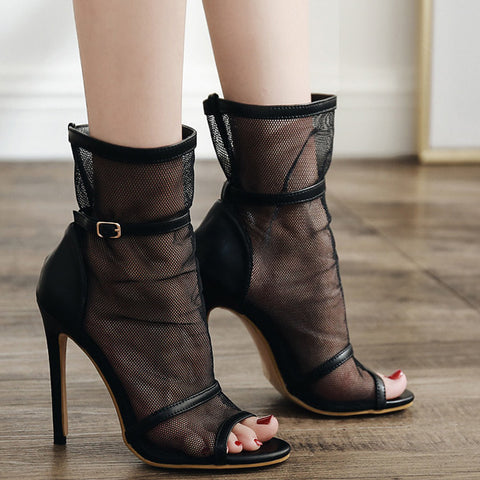 Black Peep-toe Mesh Stiletto Heels Boots Prom Shoes