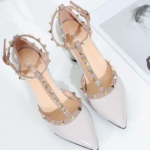 Chunky Heel T-Strap Closed Toe Pumps With Rivet