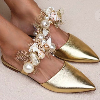 Faux Leather Closed-toe Flats With Imitation Pearl