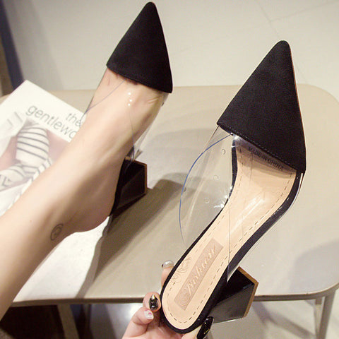 Chunky Heel Cap-toe Pumps Sandals