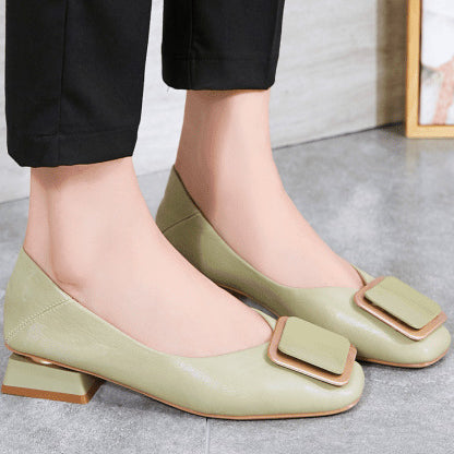 Chunky Closed Toe Heel Flats With Buckle