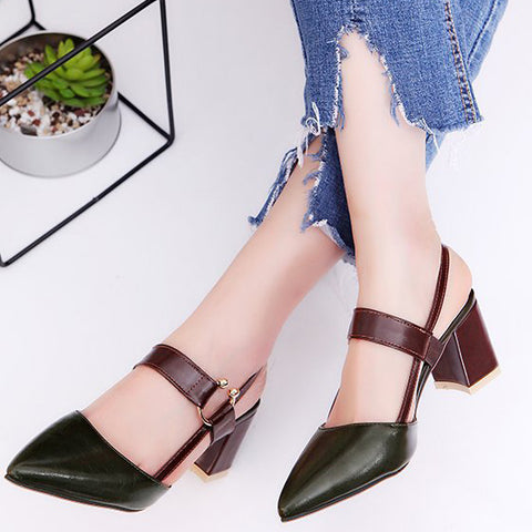 Chunky Heel Pointed Cap-toe Sandals With Buckle