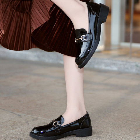 Black Closed Toe Patent Leather Flats