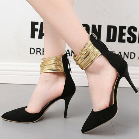 Elegant Stiletto Heel Sandals Pumps Cap-toe Shoes