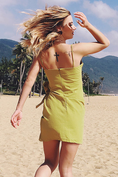 Yellow Bowknot Front Asymmetrical Hem Short Dress