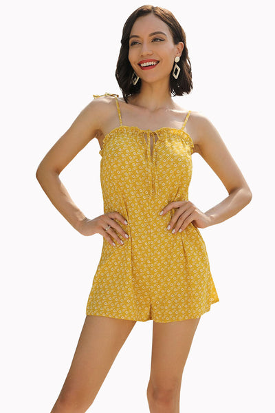 Yellow Floral Knot Strap Backless Romper