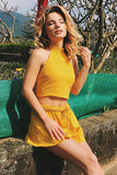 Yellow Halter&Lace-up Backless Crop Two Piece Sets