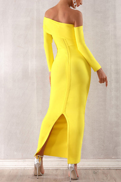 Yellow Off Shoulder Split Back Bandage Dress