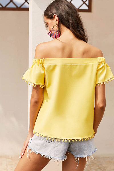 Yellow Off-the-shoulder Fringed Hem Blouse