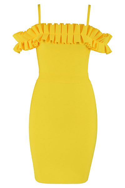 Yellow Off-the-shoulder Ruffled Spaghetti Strap Bandage Dress