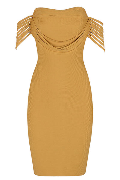 Yellow Off-the-shoulder Sexy Bandage Dress