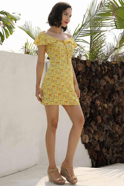 Yellow Ruffled Off-the-shoulder Lace-up Mini Dress