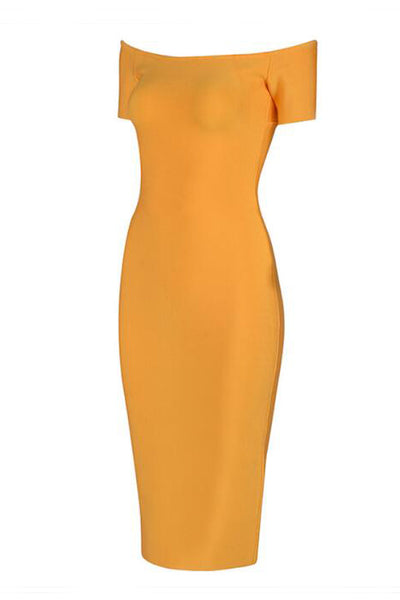Yellow Sexy Bandage Slit Prom Dress With Short Sleeves