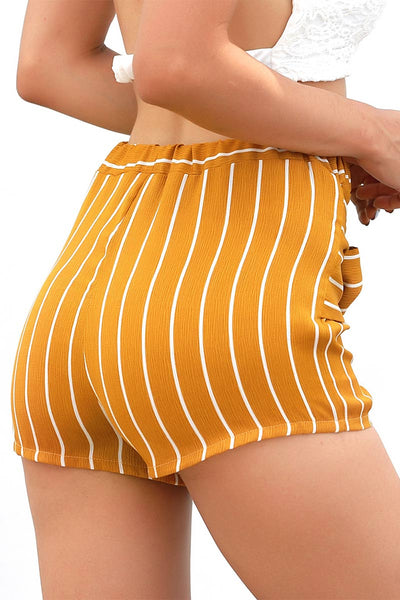 Yellow Striped Knot Front High Waist Shorts