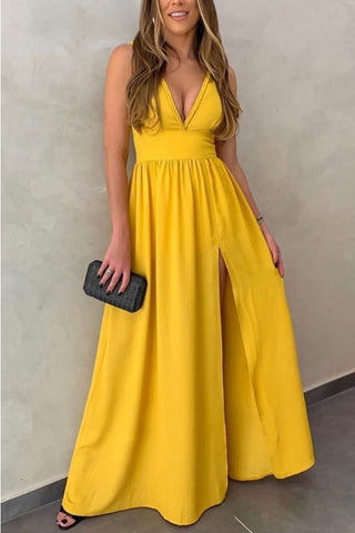Yellow Deep V-neck Sleeveless Slit Dress