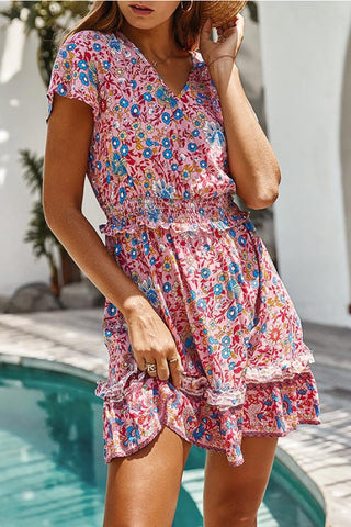 Floral Frilled Waist Short Dress