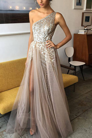 Champagne Sparkly Sleeveless Prom Dress