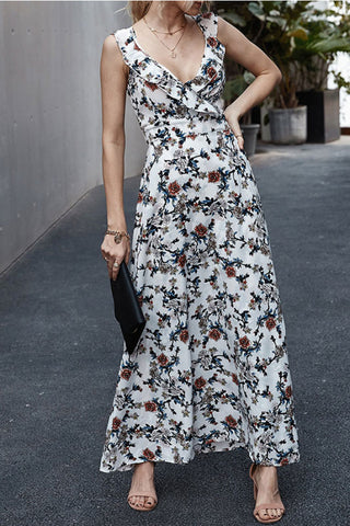 Floral Cutout Back Sleeveless Maxi Dress