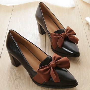 Bowknot Pointed Closed-toe Pumps Dance Shoes