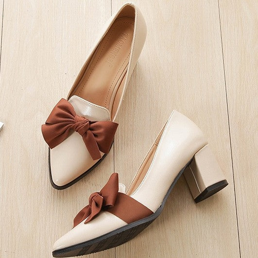 Bowknot Pointed Closed-Toe Pumps Tanzschuhe