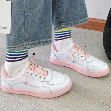 Sneakers stringate tacco piatto color block