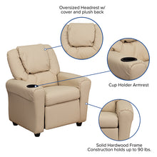 Load image into Gallery viewer, Beige Vinyl Kids Recliner with Cup Holder and Headrest