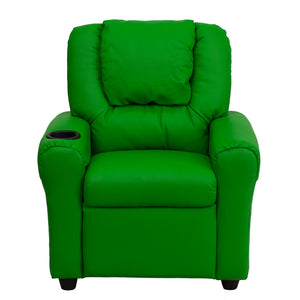 Lime Green Vinyl Kids Recliner with Cup Holder and Headrest