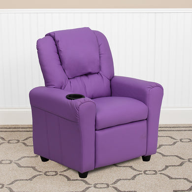Lavender Vinyl Kids Recliner with Cup Holder and Headrest