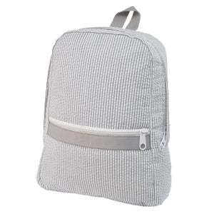 Grey Seersucker Small Backpack
