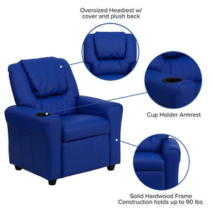 Blue Vinyl Kids Recliner with Cup Holder and Headrest