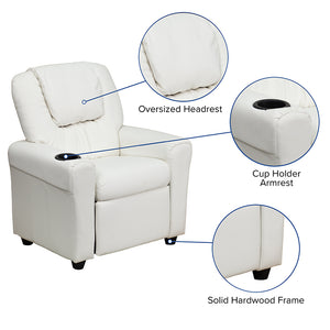 White Vinyl Kids Recliner with Cup Holder and Headrest