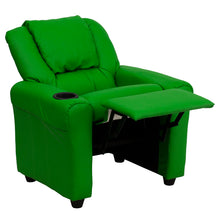 Load image into Gallery viewer, Lime Green Vinyl Kids Recliner with Cup Holder and Headrest